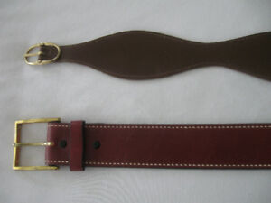 TWO CLASSIC LEATHER VINTAGE FASHION BELTS [ '60's]