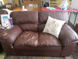 Leather Loveseat and Chair