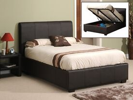 BRAND NEW- Black Brown OTTAMAN BED Double Storage Leather Bed with 9inch Semi Orthopaedic Mattress