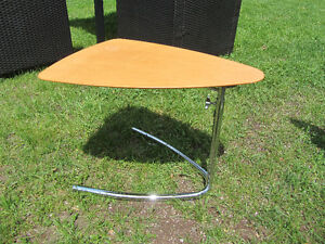 EQ3 Small wood table with chrome feet, adjustable height.