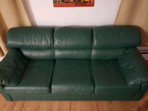 Green leather couch $100 obo