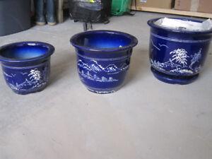 Set of three blue pots, planters