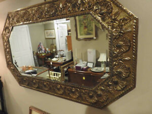 Antique wall mirror hammered brass (Repousee) octagonal