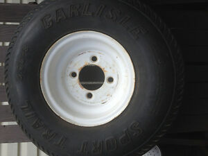 TRAILER TIRE & RIM-NEW.5.7-8,4 BOLT.
