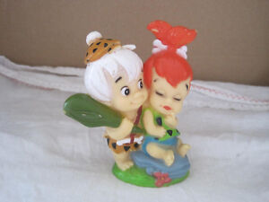 Vintage 1993 Pebbles and Bam-Bam Rubber Figurine Statue