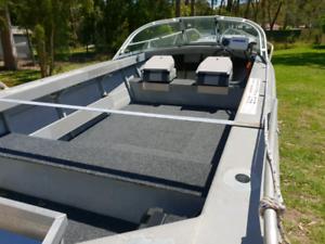 5m aluminium boat, trailer, outboard, tinny tinnie