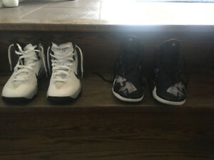 2pairs of Girls basketball shoes size 4 & 7