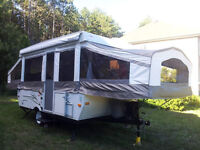 2008 PALOMINO YEARLING 4125 TENT TRAILER WITH 5 BIKE ROOF RACK