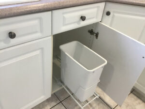 White cupboard garbage can