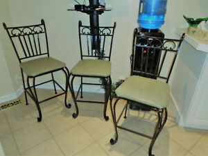 THREE 3 BLACK WROUGHT IRON BAR STOOLS KITCHEN COUNTER STOOLS