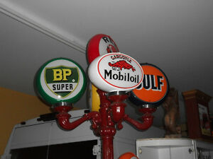 Globe pompe a essence gas pump contour & 2 vitres BP Gulf etc...