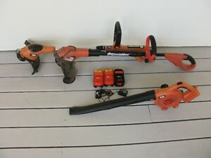 Black & Decker weed trimmers & leaf blower w/3 batteries/charger