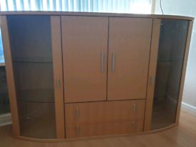 Maple glass door sideboard