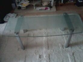 COFFEE TABLE ,GLASS AND CHROME .4 X 2 X 18 INCH