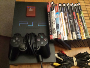 Playstation 2 with 9 games, controller, wires and memory card