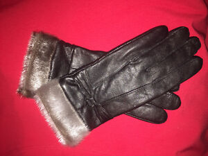 Black Sealskin Leather Gloves New Never Used