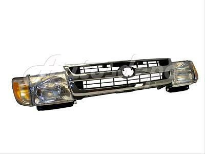 Bundle FOR 1997-2000 Tacoma 2Wd Chrome Grille Headlight Park Light 5Pcs 2wd Chrome Grille