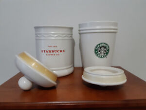 2 Starbucks Coffee Canisters Cookie Jars