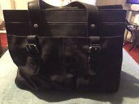 M&S navy leather handbag