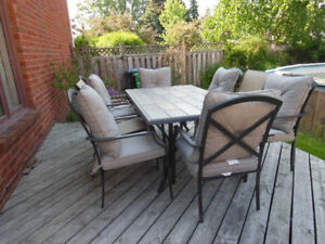 Exquisite 19+ Piece Tile Top Patio Table & 6 Chairs & 12 Cushion