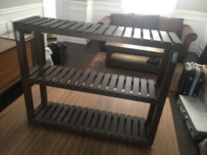 Wooden wall hanging shelving unit
