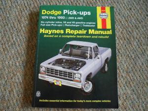 HAYNES REPAIR MANUAL, DODGE PICK-UPS, 1974 THRU 1993