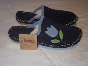 BRAND NEW, NEVER WORN: FOAMTREADS SUEDE/LEATHER SLIP ON SLIPPERS