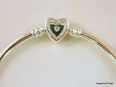 Authentic Pandora Bracelet Wishful Heart Bangle  590729Cz Choice Of Box And Size
