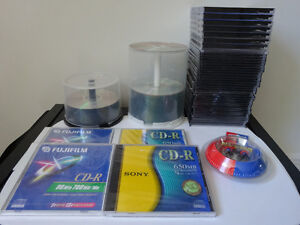 Earphones, DVD-R, CD Recordable, empty cases...