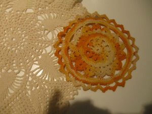 THREE CHARMING OLD VINTAGE HAND-CROCHETED DOILIES