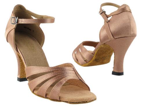 1680 Brown Satin Swing Salsa Mambo Latin Dance Shoes heel 2.5 Size 5 Very fine