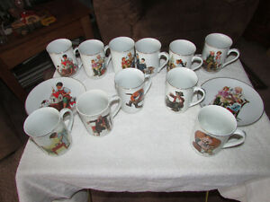 Norman Rockwell cups & Plates