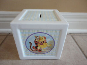 Collectible Disney Winnie the Pooh porcelain square money bank