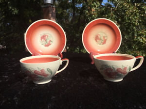2 Susie Cooper - Demitasse - Cup and Saucer - brown