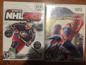 Wii games  hockey/ Spider-Man