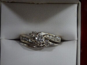 White Gold Engagement and Wedding Ring Set