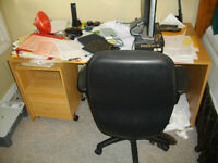 DESK, CHAIR, FILING CABINET AND PRINTER