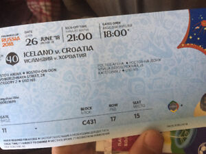 Sell Russian World Cup ticket 26th June match Iceland vs Croatia