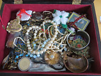 BOX FILLED WITH VINTAGE & STERLING FROM ESTATE