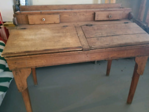 2 person antique school desk
