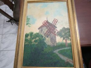 peinture huile signée / joseph jutras 1894-1972 Gentilly Québec