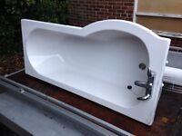 Bathroom bath tub, taps, radiator all in 170 cm long x 80 cm wide