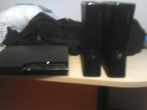 2 xbox 360 with multiple games and controllers and ps3