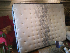 Queen size mattress,  box spring and unopened mattress protector