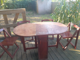 Antique folding dining table + 4 chairs + free outdoor cover