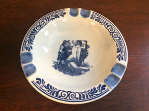 Mid Century Delft Blue Ashtray