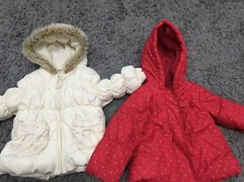 Baby girls coats aged 9-12 months x2
