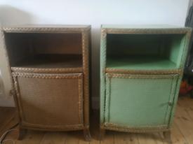 Pair of vintage Lloyd Loom style bedside table cabinets