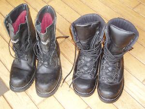 bottes de cuir noir