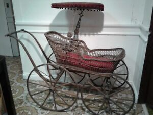 Antique Victorian 1870s Haskell Bros. Baby Carriage